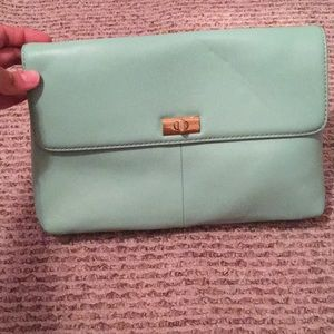 NWOT J. Crew mint leather clutch